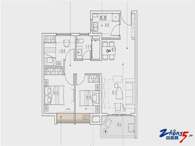 高层95㎡三室两厅一卫.jpg