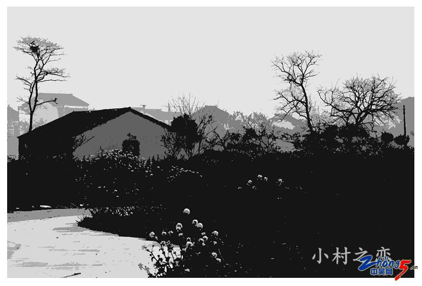 鄉村(水印木刻).JPG
