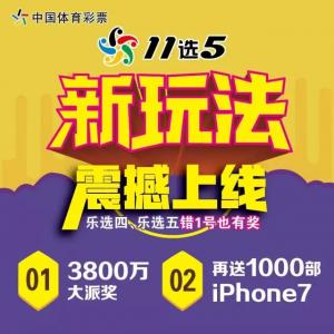 """体彩""""11选5""""四大新玩法上线!3800万+1000部iPhone7等你来拿!"""