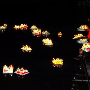 中元夜运河畔,牛塘这里飘出上万盏河灯!村民们说……