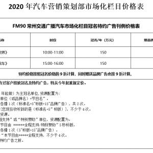 2020年汽车营销策划部市场化栏目价格表