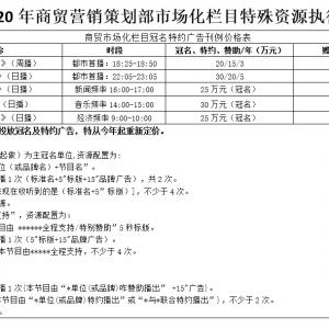 2020年商贸营销策划部市场化栏目特殊资源执行价格表