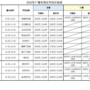 2020年广播市场化节目价格表